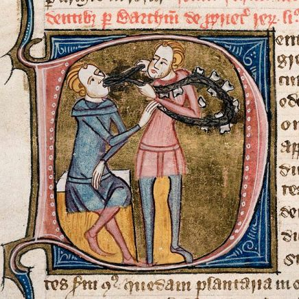 This is a terrifying picture of medieval dentistry. So I can understand the butchers thing...