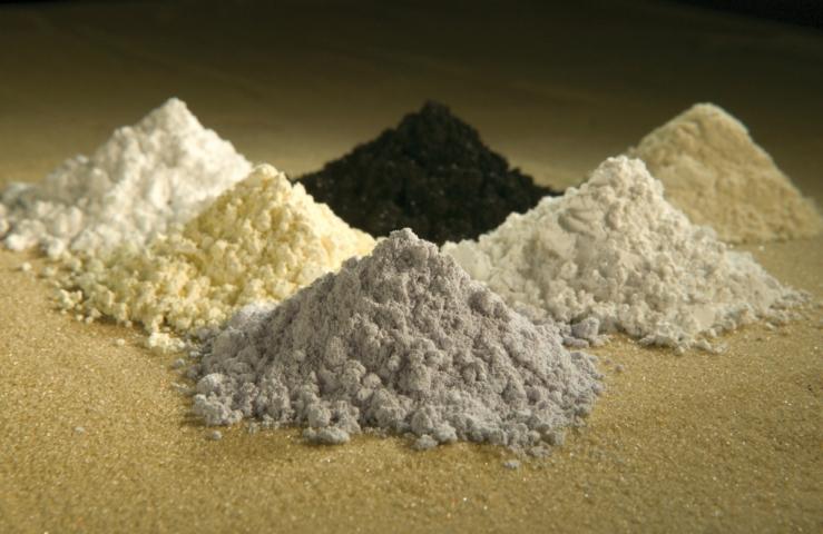 Source: Peggy Greb, USDA Clockwise from top center: praseodymium, cerium, lanthanum, neodymium, samarium, and gadolinium.